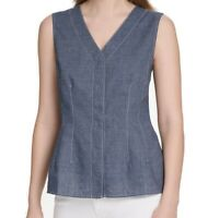 DKNY Womens Blouse Denim Blue Size XS Foundation Contrast Stitch V Neck $59 #220