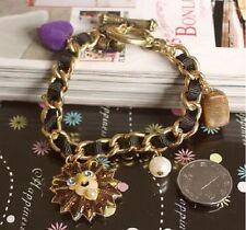 B55 BETSEY JOHNSON Lion King with Heart Stone & Beads Charm Bracelet US