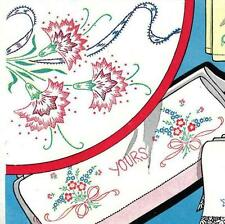 Hand Embroidery Transfer 676 Carnations Poppies Violets for Pillow Case Towels