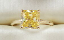 14K YELLOW GOLD 3.00CT EMERALD CUT Fancy Yellow  Wedding Engagement Ring