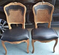 Pair of French Louis XV Wood, Cane Back & Leather Seat Studded Chairs