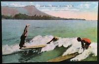 Mint Vintage Surfers & Surfing Tricks Honolulu Hawaii Real Photo Postcard RPPC