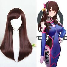 Overwatch OW D.VA DVA Wig 60cm Long Red Brown Heat Resistant Cosplay Wigs