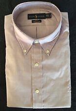 Polo Ralph Lauren Shirt Purple Oxford Slim Fit LS Polo Logo Sz 17 - 34/35 NWT