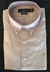 Polo Ralph Lauren Shirt Purple Oxford Slim Fit LS Polo Logo Sz 17 1/2 - 34/35NWT