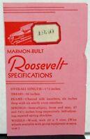 1930 Marmon Roosevelt  Dealer Pocket Sales Brochure Specs Leaflet Data Facts