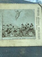 Antique Stereoview Card Photo Lawrence, Kansas JESUS THE ASCENSION
