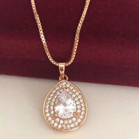 Halskette Tropfen Anhänger Collier mit Swarovski® Kristallen 750er Gold 18K 50cm