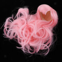 1/4 BJD Fashion Doll Wigs Long Curly Hair For Dollfie Custom Hairpiece Pink