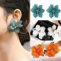Fashion Exaggerated Flower Stud Earrings Stud Orange Drop Dangle Women Gift