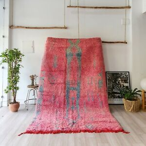Moroccan rug, beni ourain rug, handmade wool rug, vintage azilal rug pink carpet