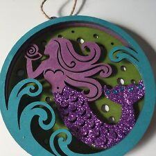 Cape Shore Christmas Wooden Ornament Mermaid Purple Green Teal Glitter New