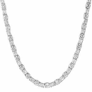 White Gold Emerald & Round Cut VVS Tennis Chain