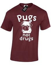 PUGS NOT DRUGS MENS T SHIRT FUNNY PRINTED DESIGN TOP S - 5XL
