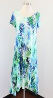 NWT $129 Chico's Palm Print Asymmetrical Midi Dress Chicos Size 0 Blue Green
