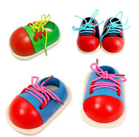CHILDRENS WOODEN THREADING SHOE LEARN TO TIE LACES EDUCATIONAL TOY GAME ME