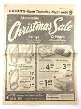 Vintage Eatons Newspaper Flyer December 4 1957 Christmas Sale K744