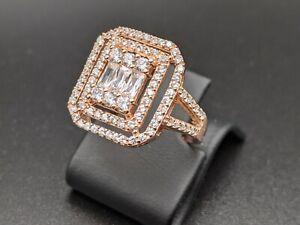 White Topaz Handmade Womens 925 Sterling Silver Ring Size 7 Rose Gold