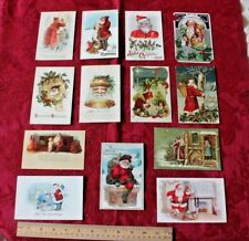 14 Vintage Christmas/Holiday Paper Postcards~1907-1914~Stamped