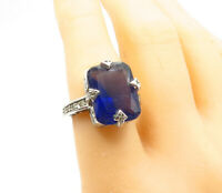 925 Sterling Silver - Square Cut Blue Topaz Shiny Cocktail Ring Sz 7 - R13749