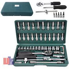 "Screwdriver 46PC 1/4"" Set Kit With Case Philips Pozi Hex Socket Ratchet Bit Torx"