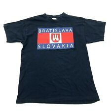 NEW Bratislava Slovakia Shirt Size S Small Adult Navy Blue Short Sleeve Graphic