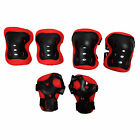 Kid Cycling Role Skating Knee Elbow Wrist Protector Pads - Black and Red K2N2