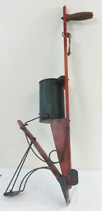 Antique American Standard Painted Tin, Wood & Iron Seed Planter w/Display Stand
