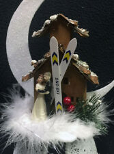 Winter Wonderland Ski Lodge Mountian Cabin bride & Groom top wedding Cake Topper