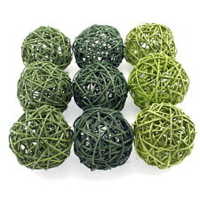 Rattan Balls Green Set 3 colours, rattan balls/10cm/ 9 PIECE!!!