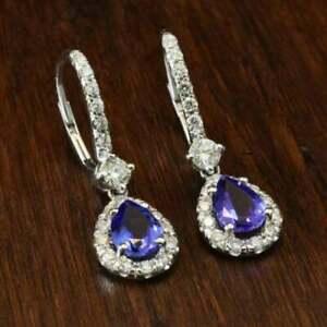 4.10Ct Pear Cut Blue Tanzanite Drop/Dangle Women's Earrings 14K White Gold Over