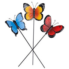 Resin Butterfly Planter Stake Set of 3 Garden Lawn Yard Art Ornament Outdoor