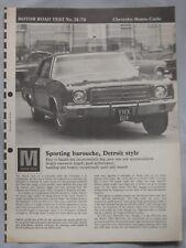 1970 Chevrolet Monte-Carlo Original Motor magazine Road test