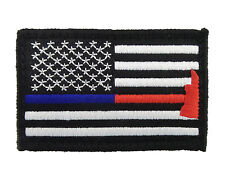 Blue & Red Thin Line Flag Police Firefighter Hook & Loop Morale Tags Patch