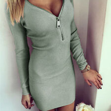 Women Deep V Neck Long Sleeve Clubwear Party Evening Mini Zipper Dress Clothes
