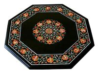 """18"""" Marble Side Coffee Table Top Carnelian Inlay Floral Arts Decor Gift H1648"""