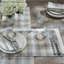 Farmhouse Country Prairie Wood Placemat Taupe Blue Cream Plaid Cotton Tabletop