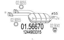 MTS silenciador del medio MERCEDES-BENZ 124 SERIES CLASE E 01.56670
