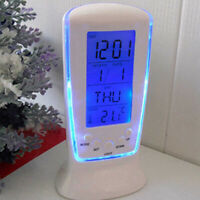 LED Digital Electronic Alarm Clock with Blue Backlight Calendar Thermometer Gift