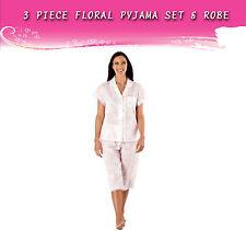 Ladies 3-Piece Nightwear Sleapwear Pyjama Set & Robe- Floral Peach- Size 18/20