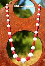 Faux red and white carved fluted coral  - lucite bead  NECKLACE