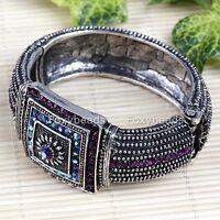 Damen Herren Metall Armband Uhr-Formel Armschmuck Tibetischen Silber mit Strass