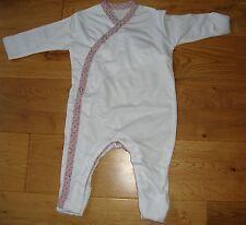 BNWT Pretty Baby Girls Organic Bamboo White/Rose Spot Baby Grow - Newborn