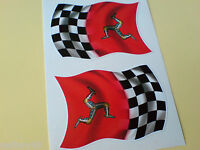 ISLE OF MAN TT Fans CHEQUERED FLAG Car Helmet Motorcycle Sticker 2 off 60mm