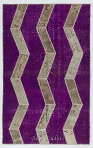 Herringbone Design Patchwork Rug Made from Over-Dyed Vintage Carpets