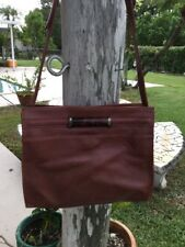 VINTAGE UNGARO REDISH BROWN LEATHER SHOULDER PURSE BAG MADE IN ITALY