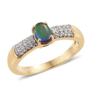 Canadian Ammolite, Zircon Ring in Vermeil YG Over Sterling Silver Size 10