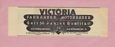 NÜRNBERG, Werbung 1934, Victoria-Werke Fahrrad Motorräder