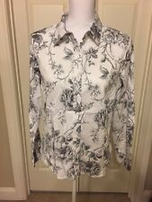 Ladies, Talbots Petite, 16P, White/Gray, Floral, Long Sleeve Shirt