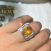 Natural Citrine Gemstone Solid 925 Sterling Silver Luxury Resizable Men Ring